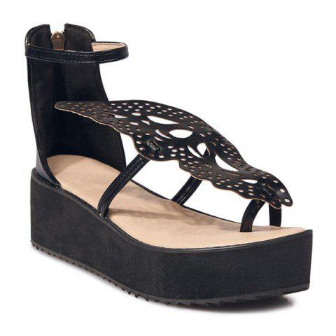 Hot Ankle Strap Butterfly Pattern Wedge Heels Sandals - BLACK 38 Mobile