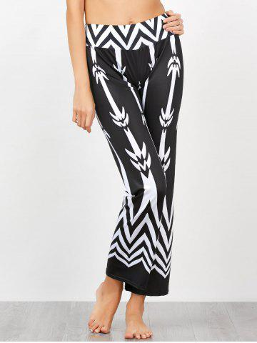 Chevron Patterned High Waisted Pants - White And Black - Xl