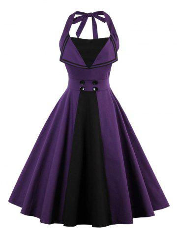 Unique Backless Buttoned A Line Halter Vintage Dress PURPLE XL