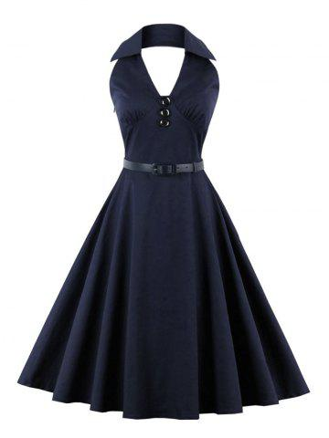 Shops Buttoned Backless Halter Skater Vintage Dress