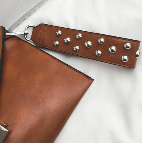 Outfit Envelope Studded Wristlet Clutch Bag - BROWN  Mobile