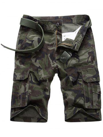 Latest Flap Pocket Camouflage Cargo Shorts - 36 ARMY GREEN Mobile