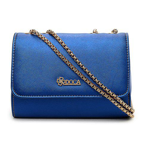 Shops Faux Leather Chain Crossbody Bag - BLUE  Mobile