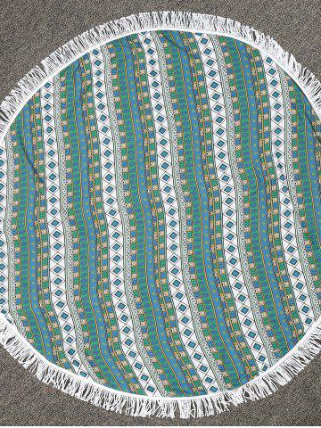 Unique Round Fringe Geometric Print Beach Throw - ONE SIZE GREEN Mobile