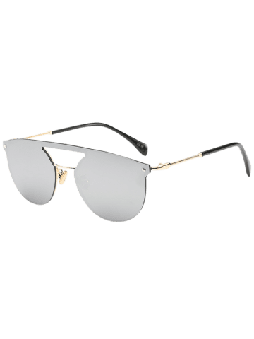 Store Mirror Invisible Frame Hollow Out Crossbar Sunglasses - SILVER  Mobile
