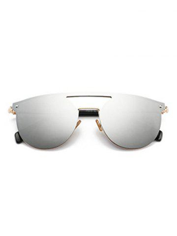 Shops Mirror Invisible Frame Hollow Out Crossbar Sunglasses - SILVER  Mobile