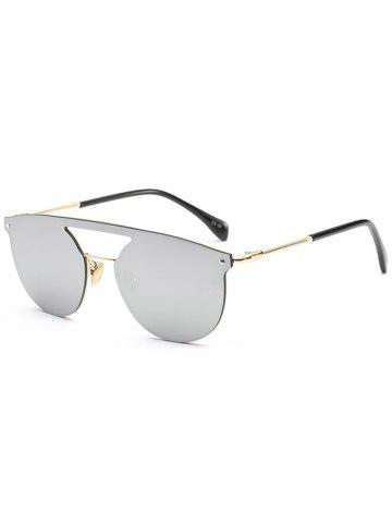 Fashion Mirror Invisible Frame Hollow Out Crossbar Sunglasses - SILVER  Mobile
