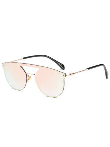 Shops Mirror Invisible Frame Hollow Out Crossbar Sunglasses - PINK  Mobile