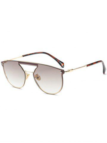 Mirror Invisible Frame Hollow Out Crossbar Sunglasses - Champagne