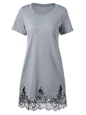 Affordable Lace Hem Scalloped Edge Tee Dress GRAY 2XL