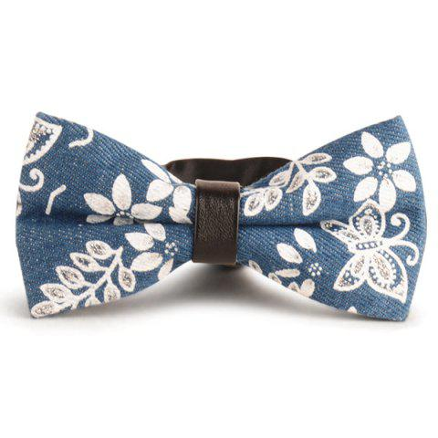 Discount Layer Denim Floral Pattern Bow Tie