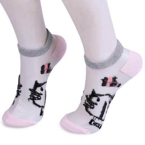 Online Glass Silk Cartoon Cat Lettes Embroidered Socks