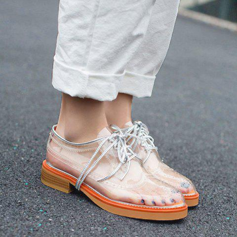 Online Transparent Plastic Wingtip Flat Shoes