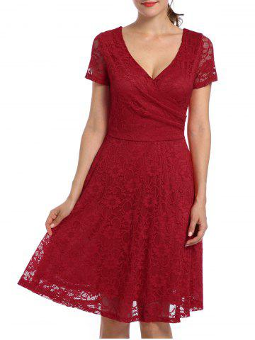 Online Lace High Waist Surplice Cocktail Dress - M RED Mobile