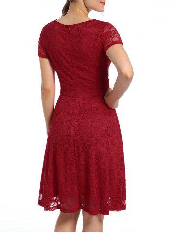 Fancy Lace High Waist Surplice Cocktail Dress - M RED Mobile