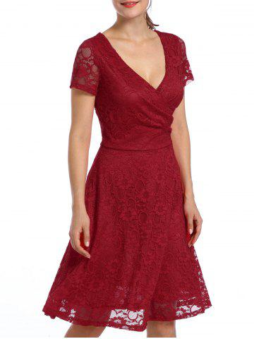 Discount Lace High Waist Surplice Cocktail Dress - M RED Mobile