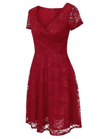 Buy Lace High Waist Surplice Cocktail Dress - M RED Mobile
