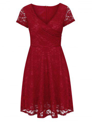 Buy Lace High Waist Surplice Cocktail Dress - S RED Mobile
