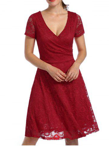 Fancy Lace High Waist Surplice Cocktail Dress - S RED Mobile