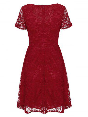 Online Lace High Waist Surplice Cocktail Dress - S RED Mobile