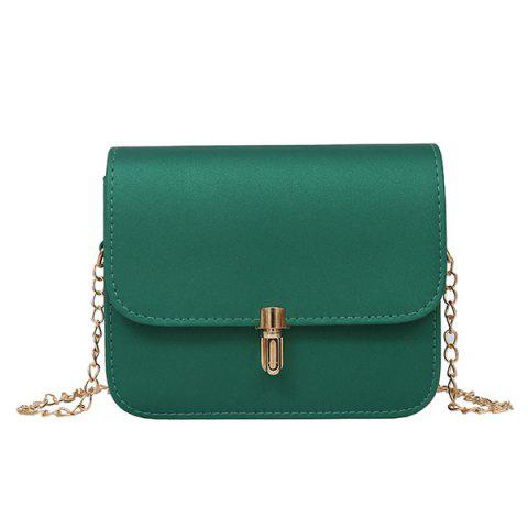 Sale Push Lock Chain Cross Body Bag GREEN