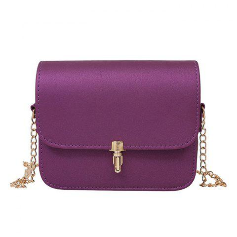 Chic Push Lock Chain Cross Body Bag PURPLE