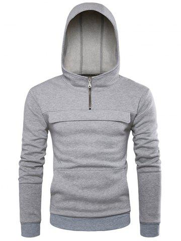 Outfits Contrast Waistband Half Zip Hoodie - L LIGHT GRAY Mobile