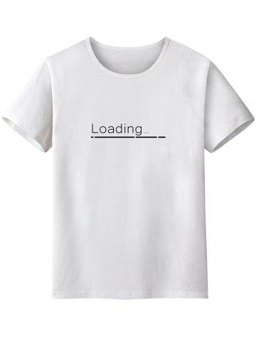 Buy Short Sleeve Loading Printed Graphic Tee - White XL