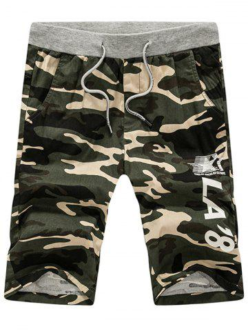 Graphic Print Drawstring Camouflage Shorts - Army Green - Xl