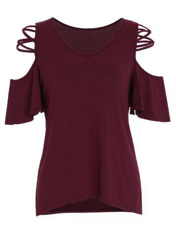Outfits Criss Cross V Neck Cold Shoulder Top