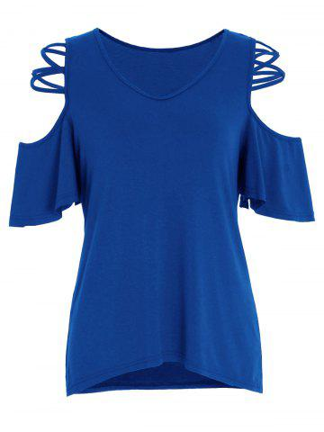 Criss Cross V Neck Top épaule à froid Bleu L