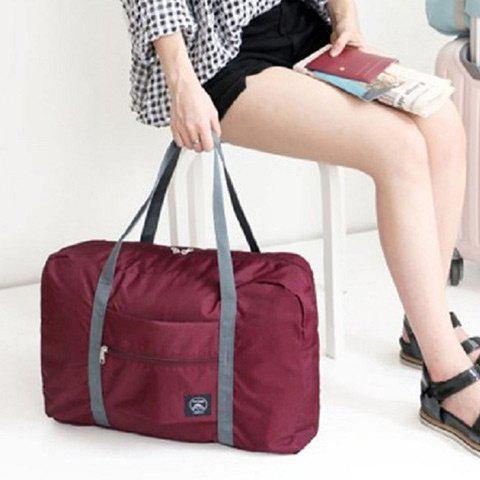 Fancy Foldable Waterproof Nylon Carryall Bag - WINE RED  Mobile