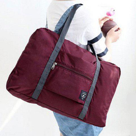 Affordable Foldable Waterproof Nylon Carryall Bag WINE RED
