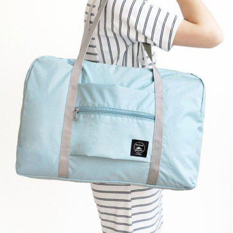Fancy Foldable Waterproof Nylon Carryall Bag - LIGHT BLUE  Mobile