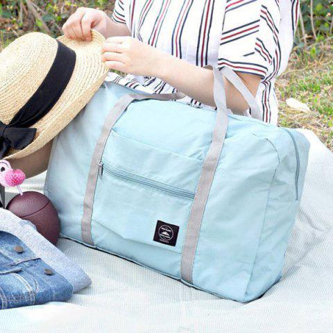 Shop Foldable Waterproof Nylon Carryall Bag - LIGHT BLUE  Mobile