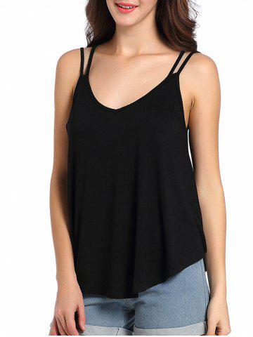 2018 Loose Fit Cutout Spaghetti Strap Tank Top In Black S
