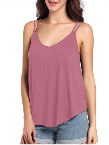 Loose Fit Cutout Spaghetti Strap Tank Top - Russet-red - S
