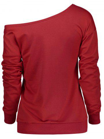 Store Christmas Letter Print Skew Neck Sweatshirt - XL RED Mobile