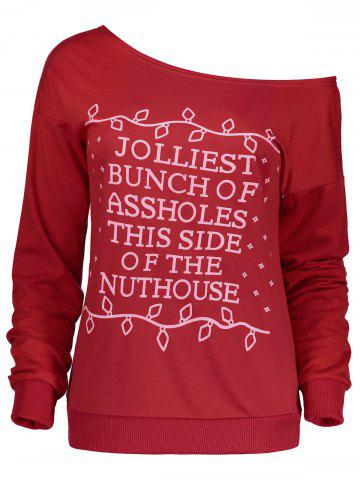 New Christmas Letter Print Skew Neck Sweatshirt - XL RED Mobile
