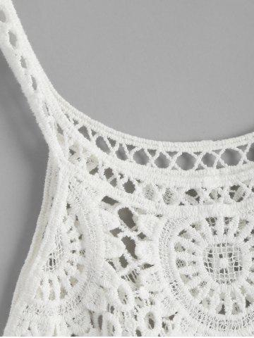 Hot Crochet Lace See Through Openwork Tank Top - ONE SIZE WHITE Mobile