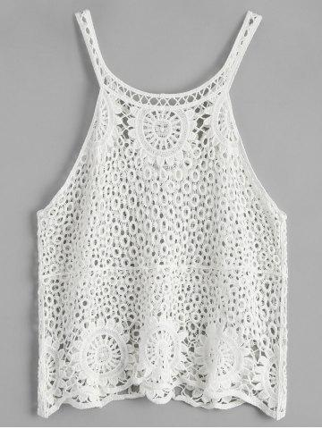 Outfits Crochet Lace See Through Openwork Tank Top - ONE SIZE WHITE Mobile