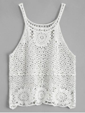 Latest Crochet Lace See Through Openwork Tank Top - ONE SIZE WHITE Mobile