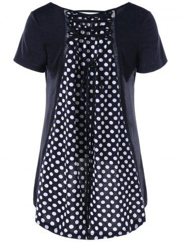 Discount Polka Dot Lace Up High Low T-Shirt