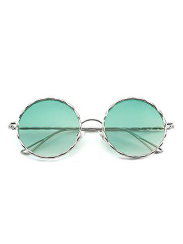 Affordable Round Ombre Wavy Metal Frame Leg Sunglasses - GREEN  Mobile