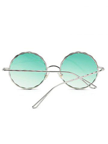 Fancy Round Ombre Wavy Metal Frame Leg Sunglasses - GREEN  Mobile