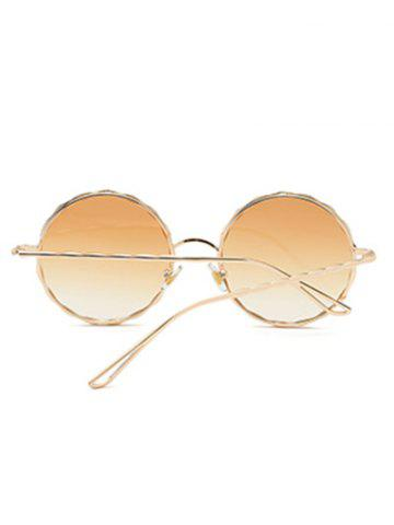 Sale Round Ombre Wavy Metal Frame Leg Sunglasses - LIGHT YELLOW  Mobile