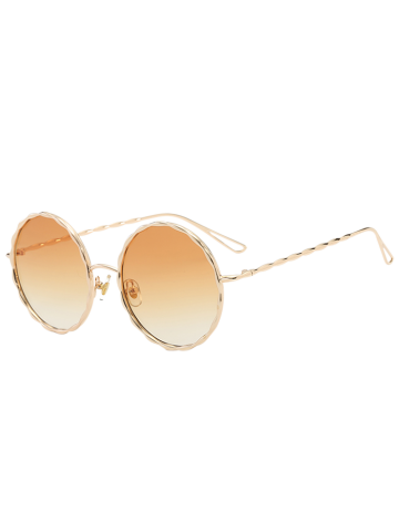 Trendy Round Ombre Wavy Metal Frame Leg Sunglasses - LIGHT YELLOW  Mobile