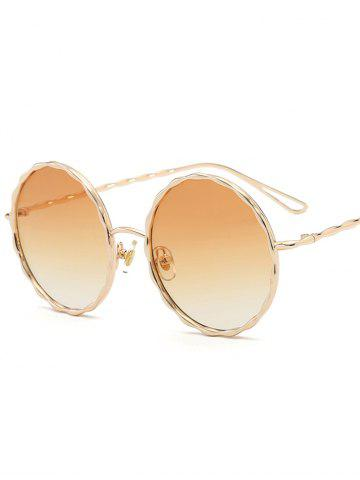 Online Round Ombre Wavy Metal Frame Leg Sunglasses - LIGHT YELLOW  Mobile