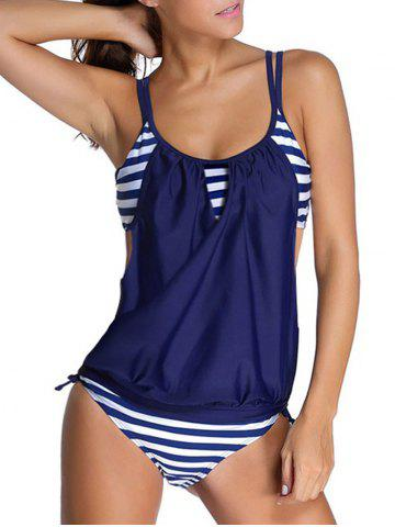 Outfit Striped Spaghetti Strap Blouson Tankini Bathing Suits - L DEEP BLUE Mobile