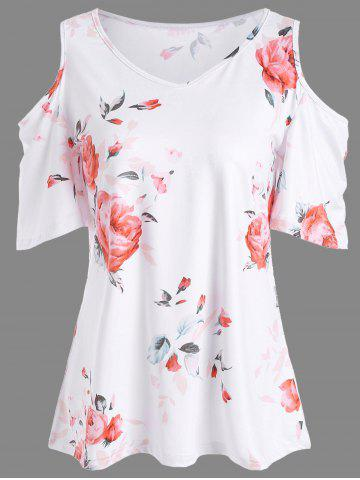 Sale Floral Print Cold Shoulder V Neck Tee